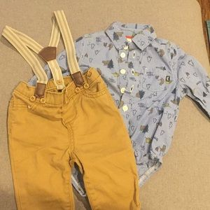 Oshkosh 3-6 month boys adorable suspenders outfit